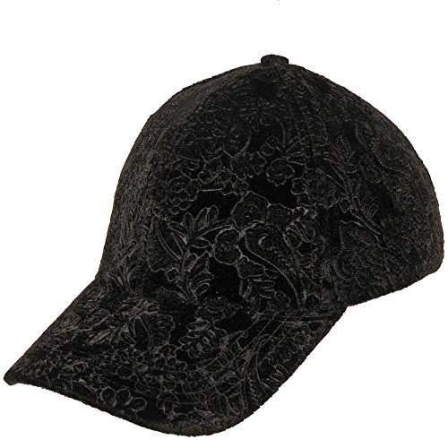 Wilsons Leather Womens Paisley Embroidered Velvet Baseball Hat Black