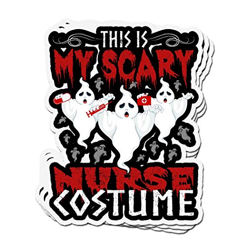 ViralTee 3 PCs Stickers This is My Scary Nurse Costume Halloween 4 × 3 Inch Die-Cut Decals -