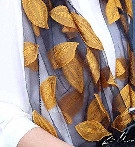 Abito Seta Avvolgere Ricamo Lungo Chiffon 1 Sciarpa Per Floreale Funchur sottile Giallo Le nera Pizzo Donne Scialle Con Di Ultra Decorazione Motivo Il Con Pc Sciarpe Ragazze wAfxqI1