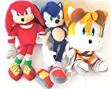 Sega Sonic The Hedgehog X Sonic Knuckles and Tails 3 Plush Doll Set 8 Inches.