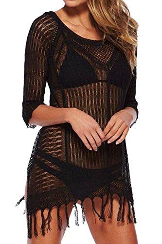 amp; Womens Swimwear Beach Tops Mini Up L Black W Bikini Crochet Dress Cover Collection d6xqqwt
