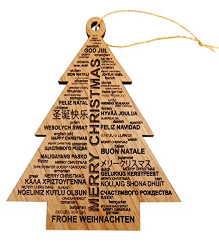 Merry Christmas Around The World Wooden Tree Ornament Made in the USA, 3 Inches (In Many Christmas Languages)