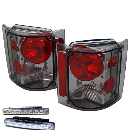 1973-1988 CHEVY C/K SERIES TRUCK REAR BRAKE TAIL LIGHT SMOKED+LED BUMPER RUNNING