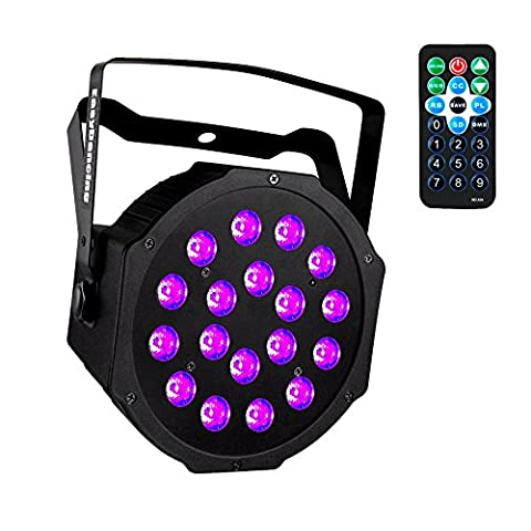 UV Black Lights with Remote 18x3W LED Par Lighting for Stage KTV Pub Club Dsico Show Party (1pc) - Stage Lighting Package