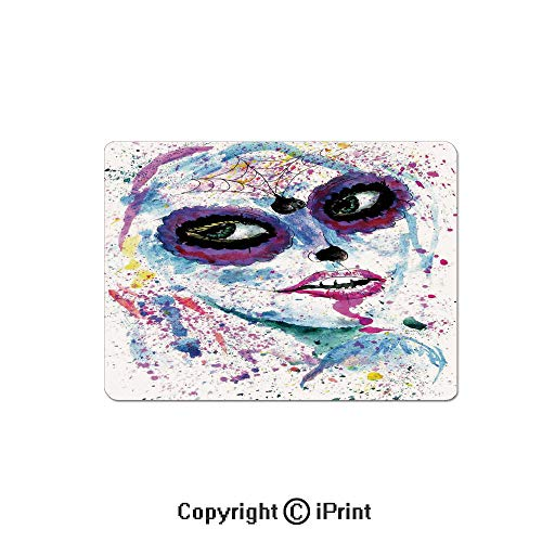 Anti-Slip Mouse Pad,Grunge Halloween Lady with Sugar Skull Make Up Creepy Dead Face Gothic Woman Artsy Mouse Mat,Non-Slip Rubber Base Mousepad,7.9x9.5 inch,Blue -