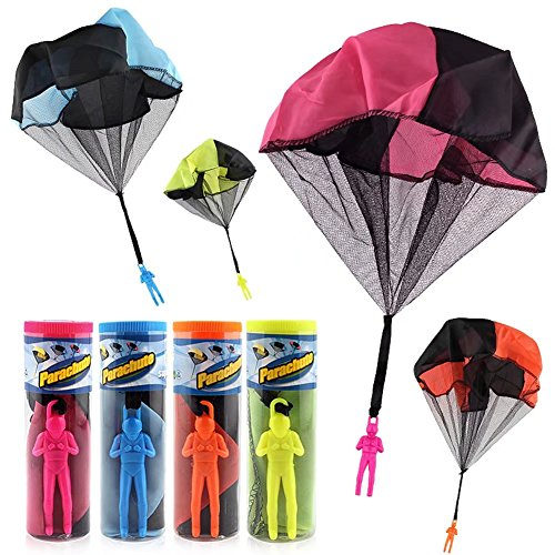 Finebaby 4PCS Set Tangle Free Throwing Parachute Figures Hand Throw Soliders Parachute Square Outdoor Children's Flying Toys | No Strings No Batteries Toss It Up (Best Toy For 12 Year Old Boy)
