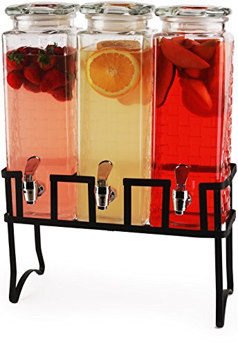 Circleware 69158 Preston Triple XL Tall Square Glass Beverage Dispensers and Metal Stand, 80 oz. each, each, Glassware for Water, Iced Tea Kombucha, Punch and all Cold Drinks ()