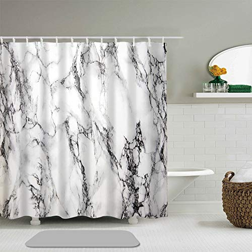 Shower Curtain Black and White Marble Background Bathroom Accessories Waterproof Polyester Fabric 72 x 72 inches Set with Hooks