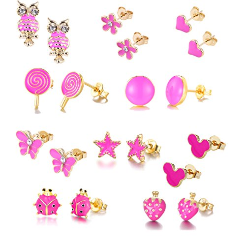 - 10Pairs 18K Gold Plated Love Heart Shape Owl Flower Star Lollipop Mouse Small Cute Simple Post Stud Earrings Set for Girls Kids Gold Tone Mix and Match (Mix-Rose carmine)