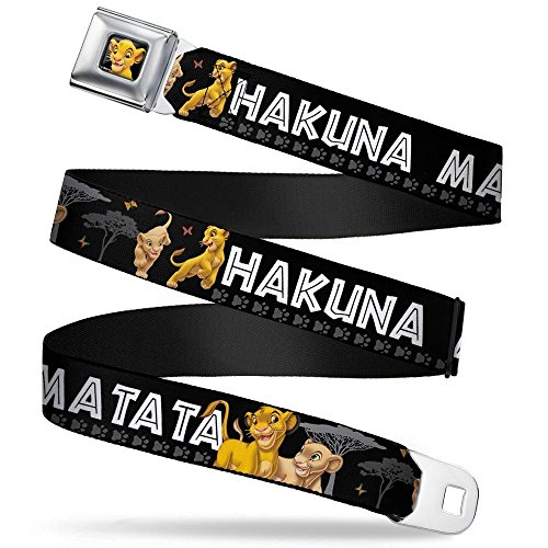 Buckle-Down Seatbelt Belt - Lion King Simba & Nala HAKUNA MATATA - 1.5