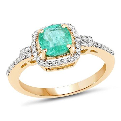 Genuine Zambian Emerald and White Diamond 14k Yellow Gold Ring (1/5cttw), Size 7