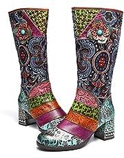 Botas Altas para Mujer Cuero de Invierno,Camfosy City Shoes con Piel de Tacón Alto Cómodos Botines Rojos Cálidos para Mujer Colorees Bohemios Originales