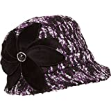 Sakkas Womens Wool Blend Foldable Cloche Bucket Winter Hat with Velvet Flower Accent