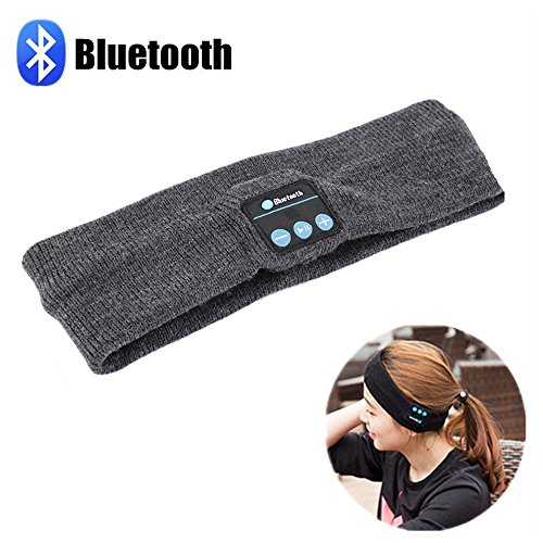 Bluetooth Music Headband, KAMII Wireless Headphone Stereo Hands Free Fitness Exercise Outdoor Sport Running Yoga Headset with Built-in Speakers and Mic for Man Woman Christmas Day Gift (Dark Grey)