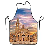 SPHGdiy Building Sky Sunlight Spain Deluxe Aprons Personalized Printing Kitchen Apron