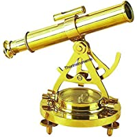 ALIDADE TELESCOPE WITH COMPASS NAUTICAL ANTIQUE BRASS MARINE COLLECTIBLE