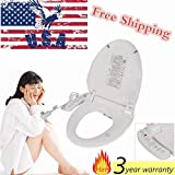 Waterproof Digital Bidet Seat, Safety Toilet Dryer Wahslet Toilet Seat, Dual Nozzle Elongated Toilets Heated Air Dryer Water Wash, Self Cleaning Adjustable Water Temperature, 220V Multi-safeguards