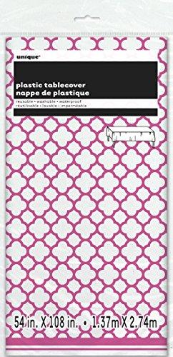 Hot Pink Quatrefoil Plastic Tablecloth