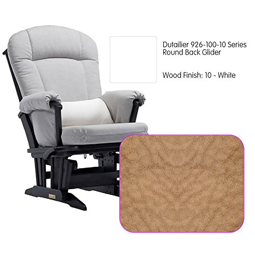 Dutailier 926 Series Round Back Maple Glider in White With Cushion - Maple Glider Back
