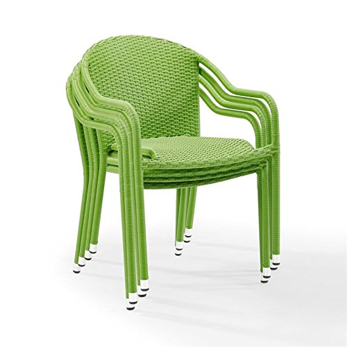 (Crosley Furniture Palm Harbor Outdoor Wicker Stackable Chairs - Green (Set of 4))