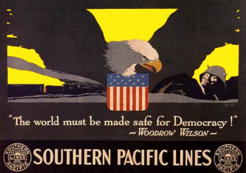 THE WORLD MUST BE SAFE FOR DEMOCRACY WOODROW WILSON AMERICAN VINTAGE POSTER REPRO