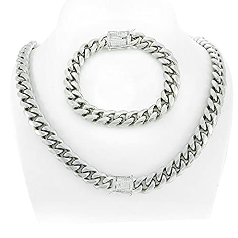 12mm Cuban Link Chain & Bracelet Set 925 Silver 1ct Lab Diamond Clasp 14k White Gold Over Stainless (Men Gold Over Silver Chain)