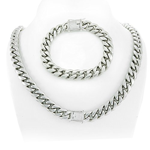 12mm Cuban Link Chain & Bracelet Set 925 Silver 1ct Lab Diamond Clasp 14k White Gold Over Stainless (14k Solid Jewelry Set)