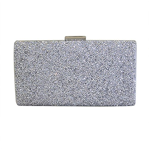 Lawevan® Mujer PU Cuero L22cm * W12cm Bolso de embrague cubierto con caja de cristal Cltch viene con cadena de mano y correa de hombro Plata