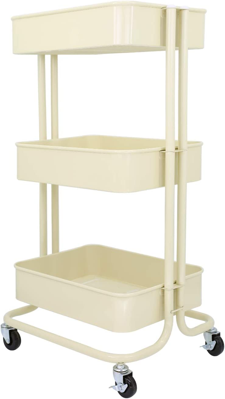 JANE EYRE 3 Tier Metal Rolling Storage Utility Cart on Wheels, Organization Cart Storage Shelves for Bedroom, Kitchen, Bathroom, Office, Nursery Room, Pantry – Beige