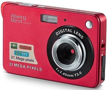 Compactas Cámaras Digitales AbergBest 2.7 LCD Recargable HD Cámara Digital para Estudiantes, niños, Adultos Interior y Exterior (Rojo)