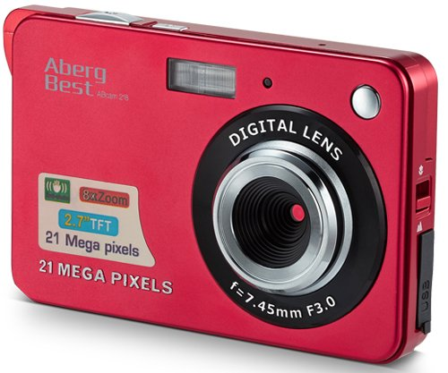 AbergBest 21 Mega Pixels 2.7″ LCD Rechargeable HD Digital Camera Video camera Digital Students cameras,Indoor Outdoor for Adult/Seniors / Kid (Red)