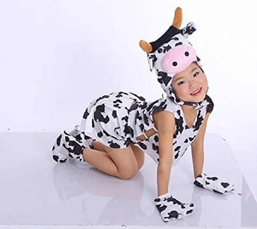 Kids Sleeveless Animal Costumes Children's Summer Fancy Dress Pajama Party Cosplay (Cow, M (for Kids 90-105 cm Tall))