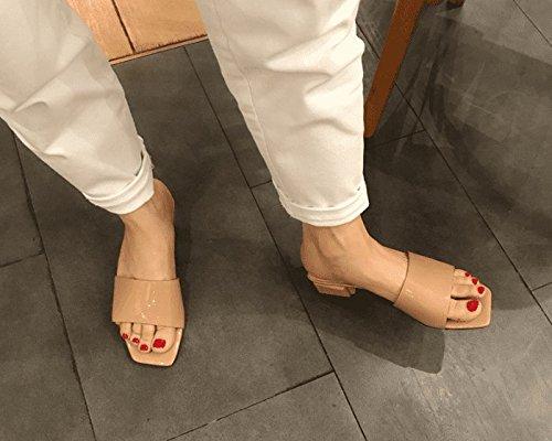 SCLOTHS Sommer Frauen Flip Flops Dick mit Mitte High Heel Casual Wasserdicht Mitte mit der Ferse Grau 7c9af6