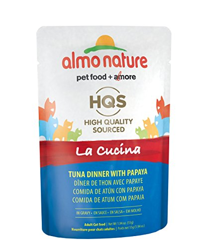 Almo Nature HQS La Cucina Tuna with Papaya In Gravy Grain Free Wet Cat Food Pouches (Pack of 24 pouches 1.94oz each )