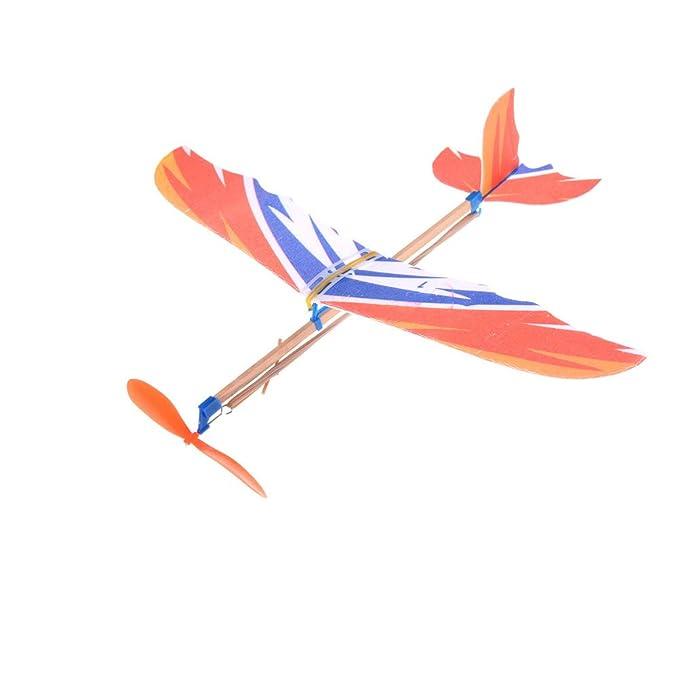 SEVENHOPE DIY Kinder Fr/üherziehung Spielzeug Gummiband Powered Segelflugzeug Zusammenbau Flugzeuge