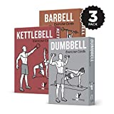 Exercise Cards 3 Pack of 62 :: Barbell, Dumbbell, Kettlebell :: 50 Strength Training Exercises for a Total Body Workout :: Extra Large, Waterproof & Durable, With Diagrams & Instructions