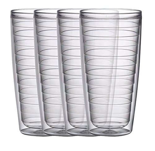 Double Wall Acrylic Tumbler - Insulated 24-Ounce Plastic Tumblers, Clear Collection Set of 4, BPA Free, New and Improved by Boston Warehouse