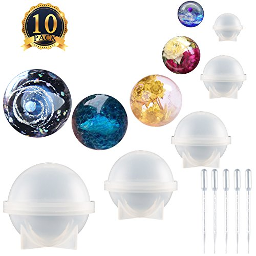 SUBANG 5 Pack Sphere Round Silicone Mold Jewelry Casting Molds Silicone Resin Jewelry Molds with 5 Pack Droppers for Resin Epoxy, Jewelry Making, Candle Wax, Homemade Soap, Bath Bomb by SUBANG