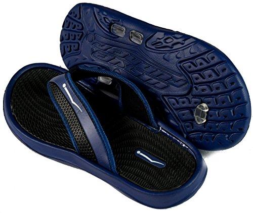 Slr Varumärken Mens Gummi Bekväm Dusch Beach Sko Halka På Flip Flop Sandal Marinblå