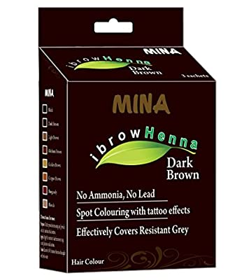 MINA Eyebrow Henna for Eyebrow Color and Tinting kit- Dark Brown