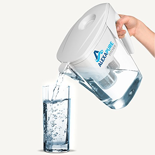 Alexapure Pitcher Water Filtration System, Reduces up to 92 Contaminants, BPA-Free 8-Cup Reservoir by Alexapure (Image #1)