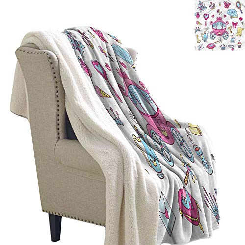 AndyTours Outdoor Blanket Girls Princess Tiara Wand Fairytale Blanket for Family and Friends W59 x L31