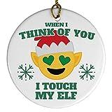 Touch My Elf Emoji Ornament: Porcelain Circle Ornament