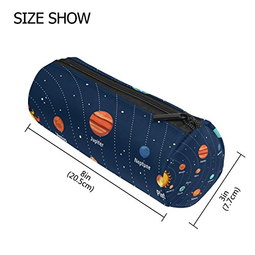 Lorvies Educational Solar System Orbits And Planets Pencil Case Cylinder Shape Pen Stationery Pouch Bag Cosmetic Makeup Bag