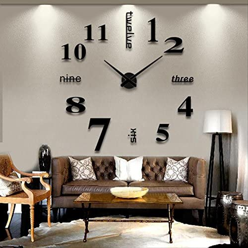 Soledi Wall Clock Decal Modern DIY Large Number Wall Clock 3d Mirror Surface Wall Sticker Clock Home Office Room Art Decor Silver