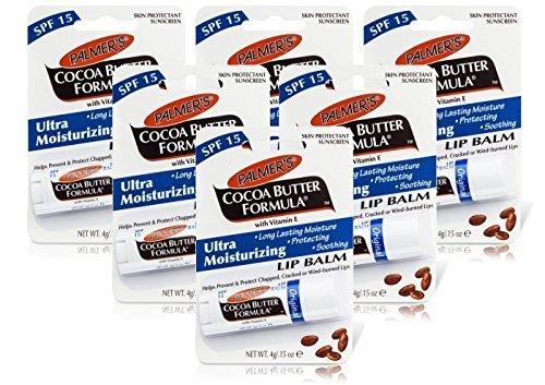 6x Palmers Cocoa Butter Formula LIP BALM SPF15 Moisturising Chapped Cracked 4g by Palmers (Best Moisturising Lip Balm)