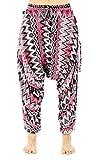 BUDDHA PANTS Premium Cotton Harem Pants Womens Zags Pattern (X-SMALL, GREY)