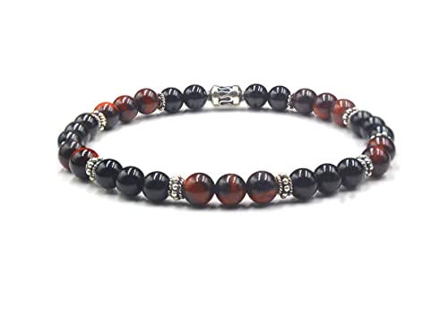 Mens Bracelet Natural Gemstone Agate Bali Bead Tiger Eye bracelet 10mm Sterling Silver Bead with Black Onyx Premium Beaded Bracelet