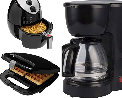 2-Slice Waffle Maker, 5-Cup Coffee Maker and Oil-Less Fryer