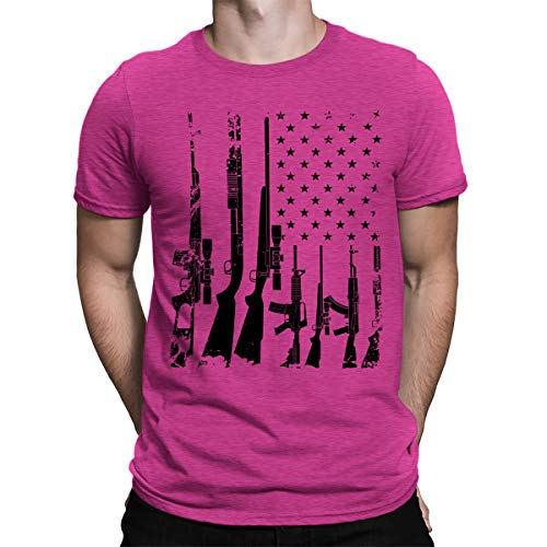 Distressed Emblem T-shirt - SpiritForged Apparel Distressed USA Gun Flag Men's T-Shirt, Pink 3XL